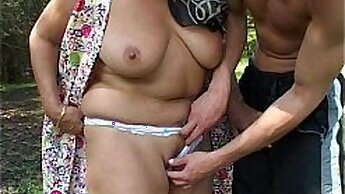 Amateur granny stroking young virgin outdoor
