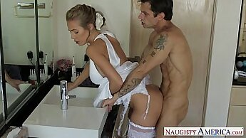 Charming blonde Nicole Aniston straight slit fucked from behind
