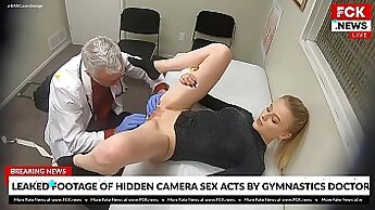 Blonde doctor banging patient