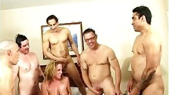 blond gets prepared for a gangbang