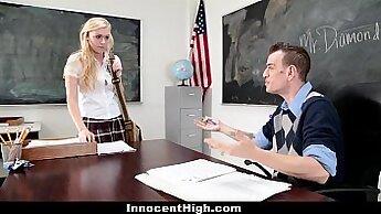 blonde schoolgirl enjoys fucking young guy