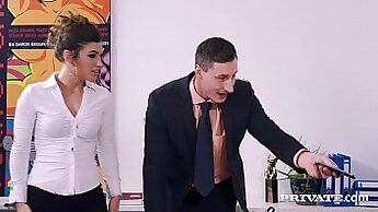 Bitch gets hairy pussy drilled in the office