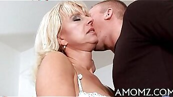 Crazy single mom wants for her boy to watch how he licks her delicious muff