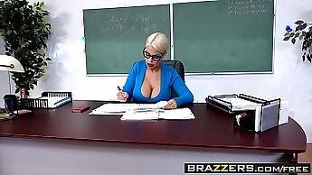 Busty school teacher licks and blows lovers dick