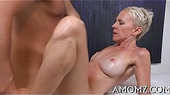 Brunette mature bitch getting her bald pussy fucked