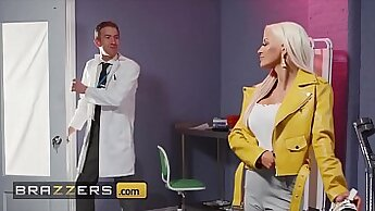 Classy doctor teasing and studying patients pussy