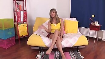 Beautiful Teen Horny Girl Upside Down Toy Play