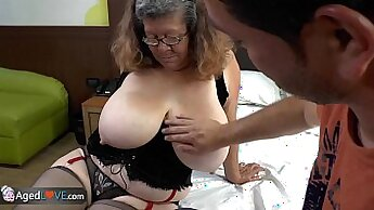 Busty granny pounded in the mouth